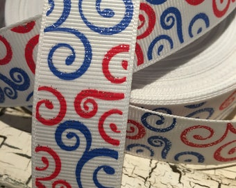 """3 yards 7/8"""" Patriotic Glitter Swirl Loops red white and blue grosgrain ribbon"""
