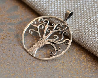 Sterling Silver Tree of Life Pendant, Round Tree of Life, Tree of Life Jewelry, Tree of Life Necklace,Jewelry Making Supplies, One ,JH15-019