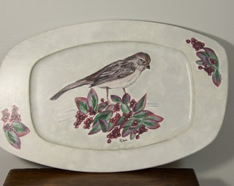 Wood tray updated with bird and berries on silver and white background OOAK