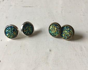 Aqua Multicolor Druzy 10mm Stud Earrings