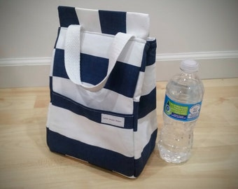 Navy & White Stripe Insulated Lunch Bag, Insulated Bag, Waterproof Bag