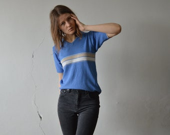 vintage blue knitted short sleeve V neck collar top with white beige stripe at chests small size