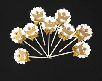 Crown cupcake toppers/ Royal cupcake toppers/ Princess  toppers/ white and Gold  Royal crown cupcake toppers/ Royal theme