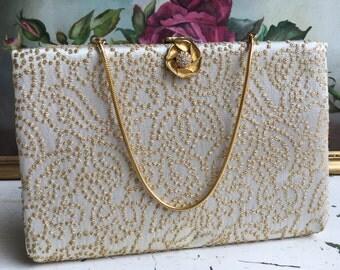 Vintage Goldtone Dress Clutch, Purse