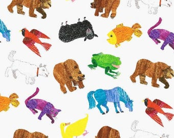 Little Oasis New Eric Carle Brown Bear print brings reading fun to baby bedding!! Choose: crib sheet, changing cover, pillow, blanket, more!