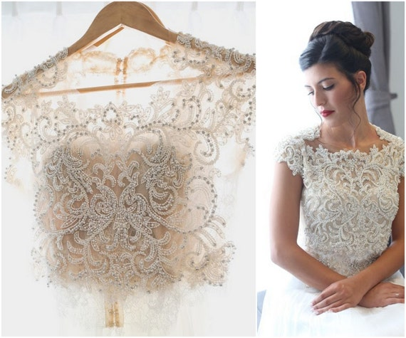 Lace wedding top lace bridal top wedding crop top bridal like this item junglespirit Image collections
