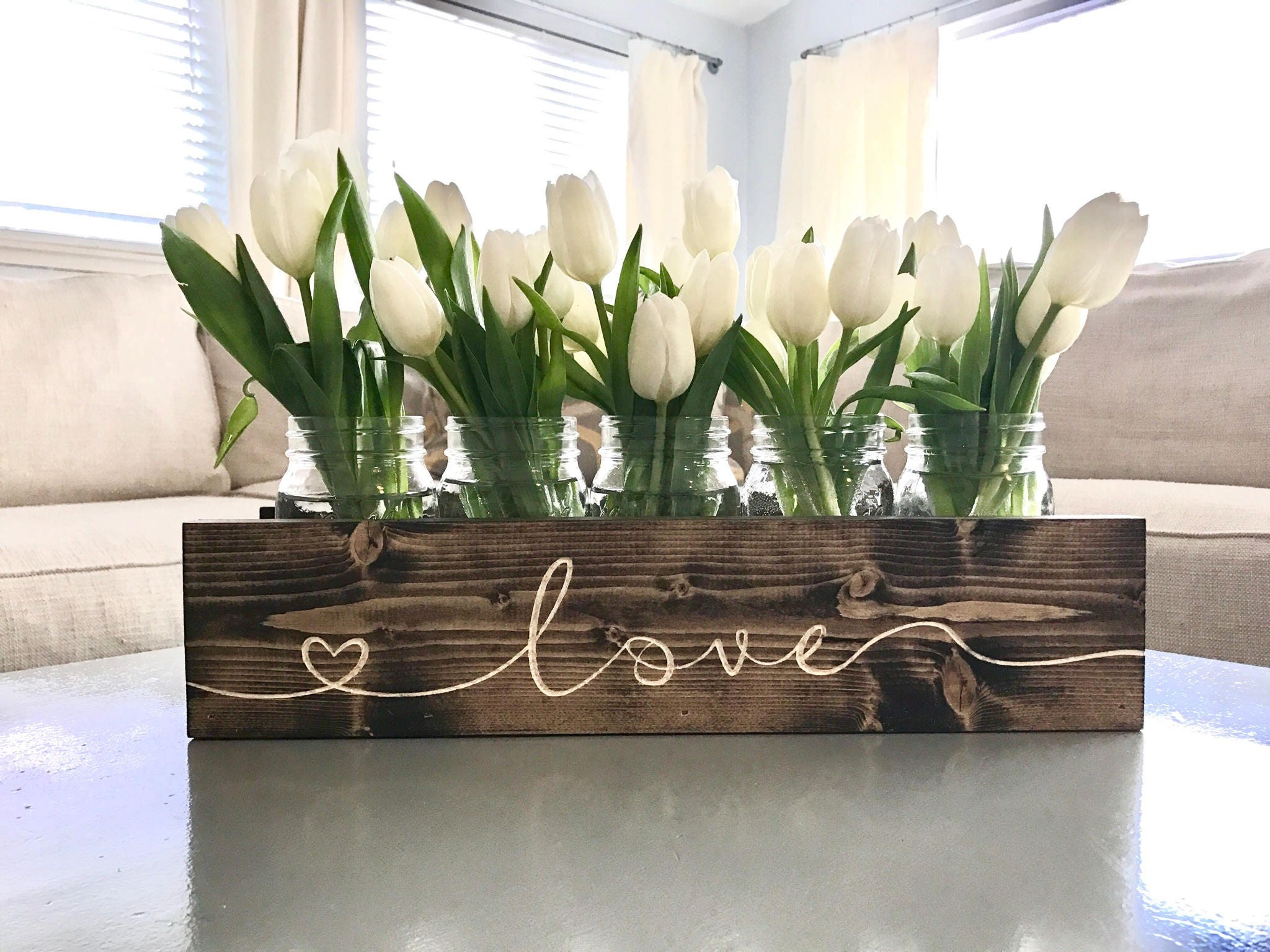 Engraved Mason Jar Centerpiece Wood Planter Box