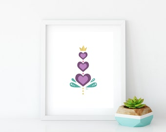 Purple Hearts Art Print, Instant Digital Download