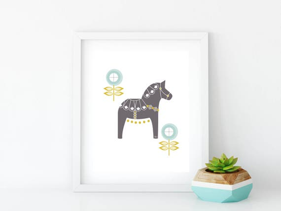 Gray and Blue Floral Dala Horse Art Print, Instant Digital Download