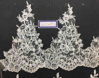 Alencon Lace,Bridal Veil Lace Trim Wedding Lace ivory by yard , Floral Embroidered Retro Lace 9.5 Inches Wide