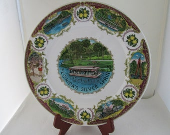 Silver Springs Florida Souvenir Plate Tourist Attraction Glass Bottom Boat Florida Plate Souvenir Plate Florida souvenir Sunshine state