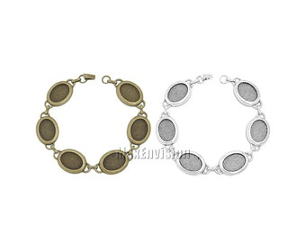 13x18mm Oval Bezel Bracelet Blanks Forms fit 13x18mm Oval Cabochons, Marbles, Resin, Buttons, Etc. Six 13x18mm oval blank bezels  5 PCS M197