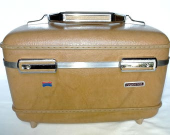 Brown Vintage Vanity Hard-Cover Travel Case