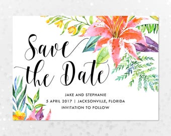 Tropical Save the Date, Printable Digital File, 5x7 Wedding Save the Date, Beach Wedding, Hawaiian Party, Tropical Flowers