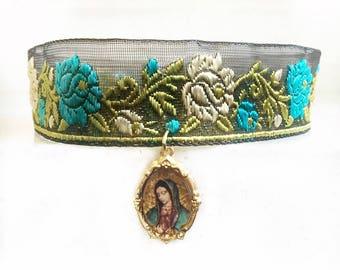Virgen de Guadalupe Flower Choker