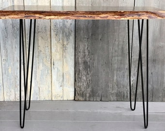Wrought iron table legs etsy for Wrought iron sofa table legs