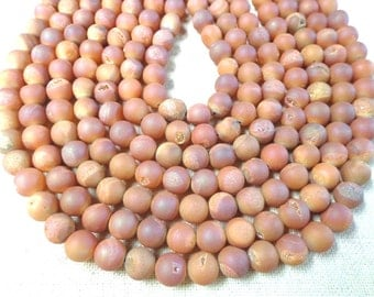 Beautiful SunFire Color Druzy Agate-Round-Smooth-Matte-Bead!!!