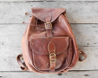 Vintage ROBERT CHEM Brown Leather Backpack , Daypack / Thick Leather / Medium