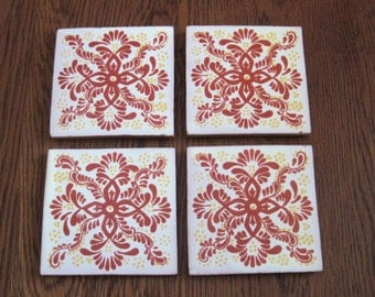 Red and Yellow Mexican Folk Art Tile Drink Coasters