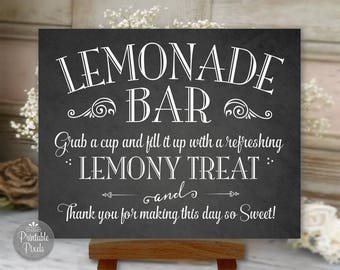 Printable Lemonade Bar Sign, Chalkboard Style, Wedding, Party, Shower, Choose Your Size (#LEM1C)