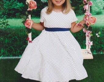 Blue polka dot girl circle dress. Girls plus size. Natural cotton