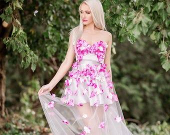 3D Floral Maxi Tulle skirt, Maxi skirt, Maxi Tulle Slkirt, Silver