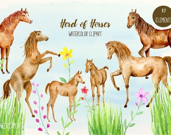 Horse Clip art, herd of horses, watercolor horse, horse clipart, brown horses, foals, herd of horses, horse family for instant download