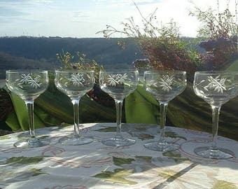 Vintage Etched Gray Cut Floral Etch Champagne Coupe Glasses Set of 5