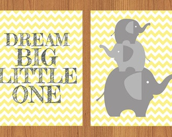 Dream Big Little One Family Elephants Nursery Wall Art Room Decor Grey Yellow Gender Neutral Chevron Set of Two 8x10 Prints (4)