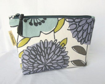 Cosmetic bag makeup bag purple aqua gray large floral with gray (CP17-002)