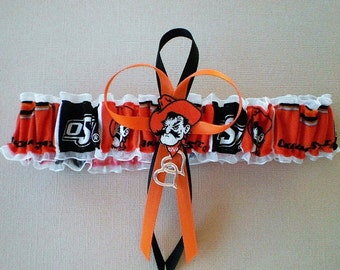 Oklahoma State University Fabric Wedding Garter Toss Double Heart Charm Sport