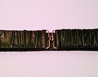 CLEARANCE Vintage 1980's Black Stretch Faux Leather Belt