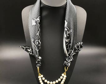 Necklace Scarf, black and white scarf with pearl, Scarf with Pendant,Scarf Jewelry, black scarf with pearl, pearl and scarf