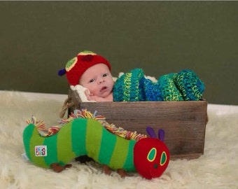 Cheerful Caterpillar Newborn Photo Prop, Clothing Baby Boy Girl Cocoon Hat Swaddle