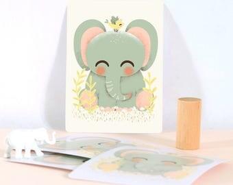 Card - Les Animignons :  the Elephant