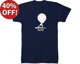 SALE! Men XL Literary T-Shirt Ayn Rand: Atlas Shrugged Book Art Gift for Book Lover - Teacher Bookish Apparel - Literary Gift