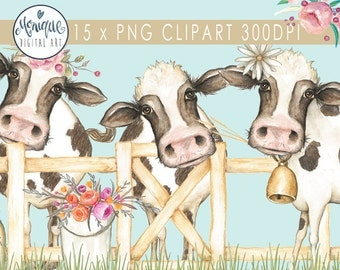 Clipart, cow clipart, cute cow, cute farm animals, cows watercolor, farm animals,floral wreath crown, planner pages, farm party invitation