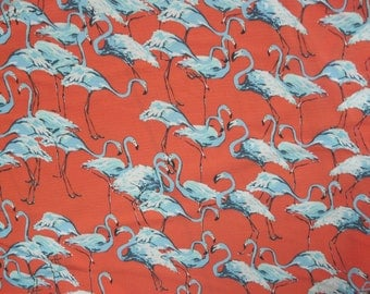 Fabric - Flamingo print - Coral - polyester lightweight bubble crepe