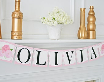 Baby Girl Name Banner, Birthday Girl Sign, Personalized Birthday Banner, Baby Shower Decoration, Baby Girl 1st Birthday, It's a Girl Banner