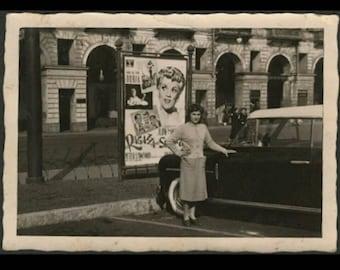 Vintage Antique 40s B&W Snapshot Photo Girl Car Movie Poster Europe