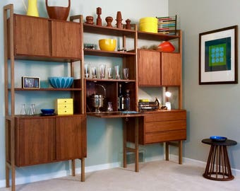sold vintage mid century modern danish modern teak wall unit storage unit room divider bookshelf bookshelves