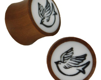Organic wood plug brown white inlay black Dove tribal (No. HPT-351)