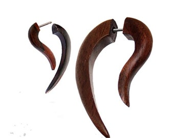 Fake piercing hooks, Sonoholz, dark brown grain, stainless steel bracket fastener (OHP-172)