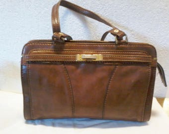 Pretty vintage handbag type Kelly bag in leather color brown