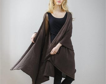 Wool blanket | Shawl wrap | Knit shawl |  Poncho | Merino wool, Baby Alpaca wool | Ready to ship