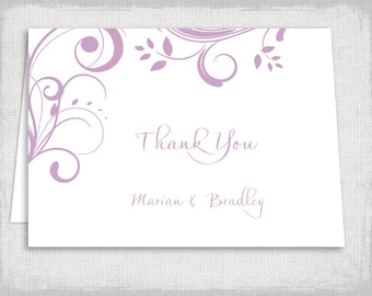 """Thank you card templates - Printable Lilac """"Scroll"""" wedding thank you cards - DIY thank you templates in pastel purple - YOU edit download"""
