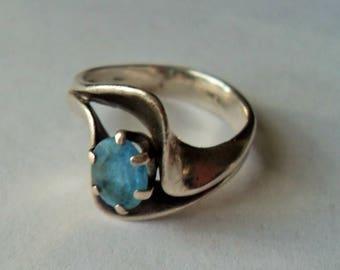 Southwestern Sterling Blue Topaz Ring, Big Blue Gemstone sterling silver ring, Southwestern style healing gift for her Gingerslittlegems
