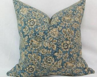 "Blue & tan floral reversible decorative throw pillow. 20"" x 20"" toss pillow. Accent pillow."