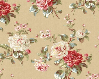 Mrs. Miniver Lg Roses Beige by Red Rooster (25905-MUL1) Cotton Fabric Yardage