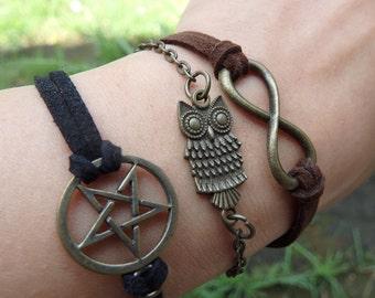 Leather bracelet, Brass pendant.
